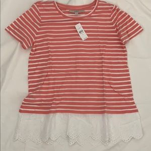 NWT eyelet hem striped tee from loft